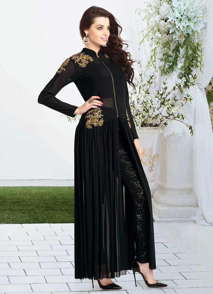 pakistani black open shirt style party dresses