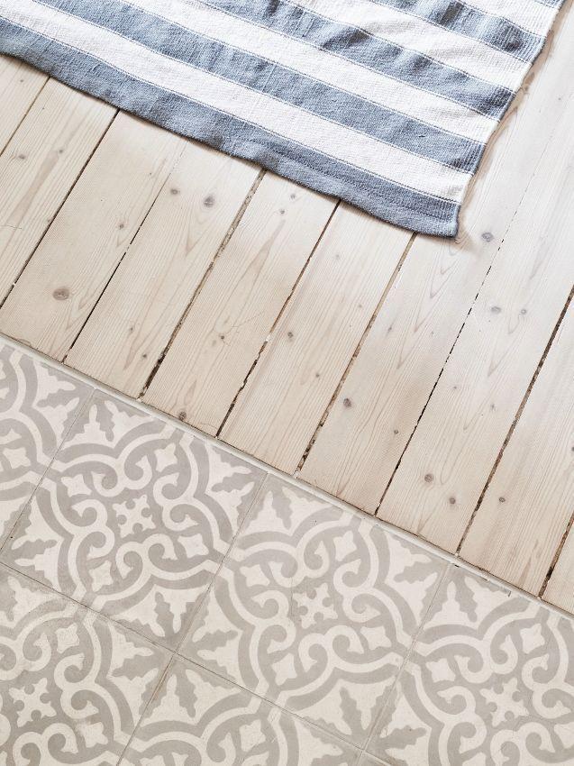 Küchen-Fußboden Holz und Fliesen – #Fliesen #Hol…