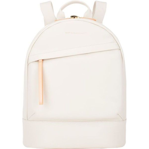 WANT Les Essentiels de la Vie Piper Backpack ($759) ❤ liked on Polyvore featuring bags, backpacks, accessories, purses, white, zip lock bags, want les essentiels de la vie, flat backpack, zipper bag and pocket bag