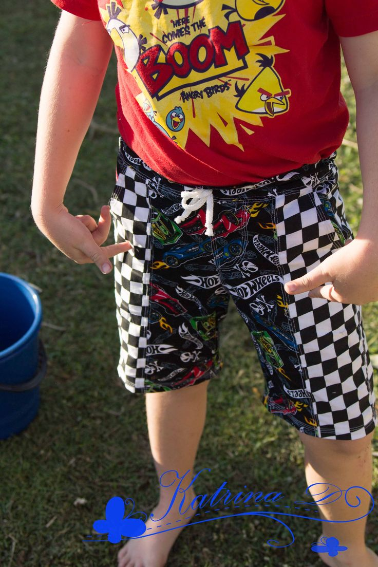 Clipper Shorts by Jennuine Design pattern test.  Shorts for boys and girls.  PDF Pattern  for Board Shorts or Woven fabrics