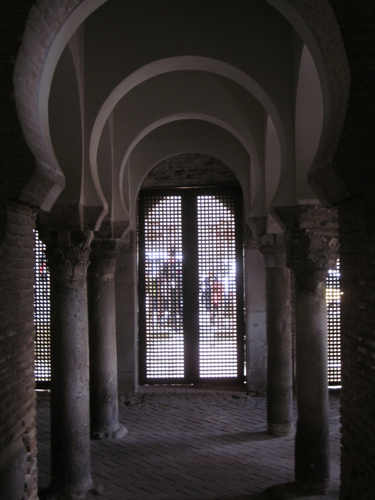 Arches in the Mezquita Cristo de la Luz in Toledo, Spain.