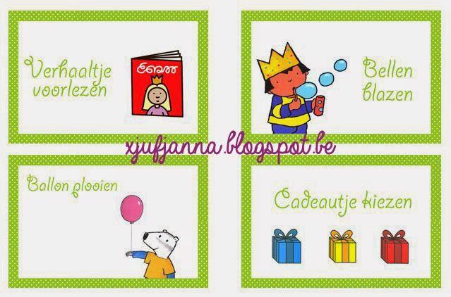 Verjaardagskoffer voorbeeld van mijn opdrachtkaartjes