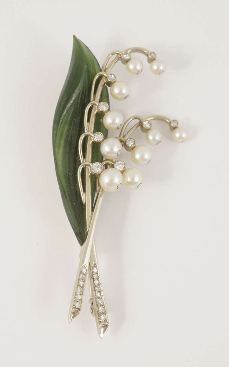 Austrian diamond, natural pearl and nephrite Lily of the valley spray brooch, c1940.