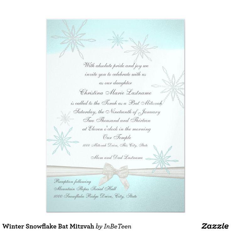 Winter Snowflake Bat Mitzvah Card
