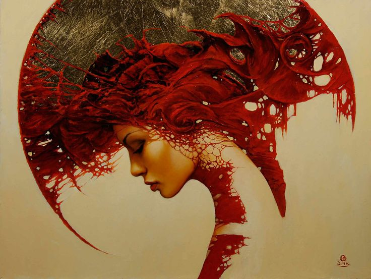 Art Paintings | art woman shapes patterns fantasy gothic red portrait painting ...