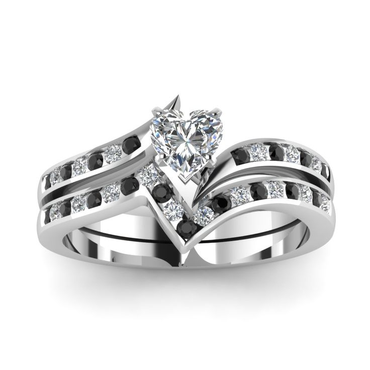 Awesome Twisted Edge Heart Shaped Wedding Ring Sets with Black Diamond in Platinum exclusively styled by