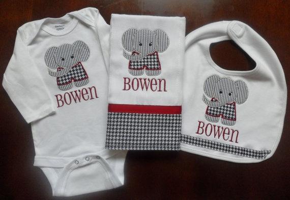 Personalized Bama Onesie Bib And Burp Cloth Set By