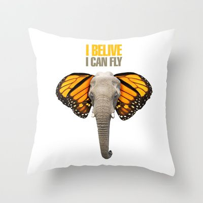 BUTTERFLY ELEPHANT Throw Pillow by VINSPIRO - $20.00