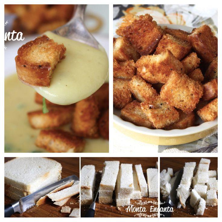 Como fazer Croûtons? Pequenos pedaços de pão, frito ou assado com óleo, azeite ou manteiga, utilizado para acompanhar sopas ou saladas. http://bit.ly/1GxGIIU