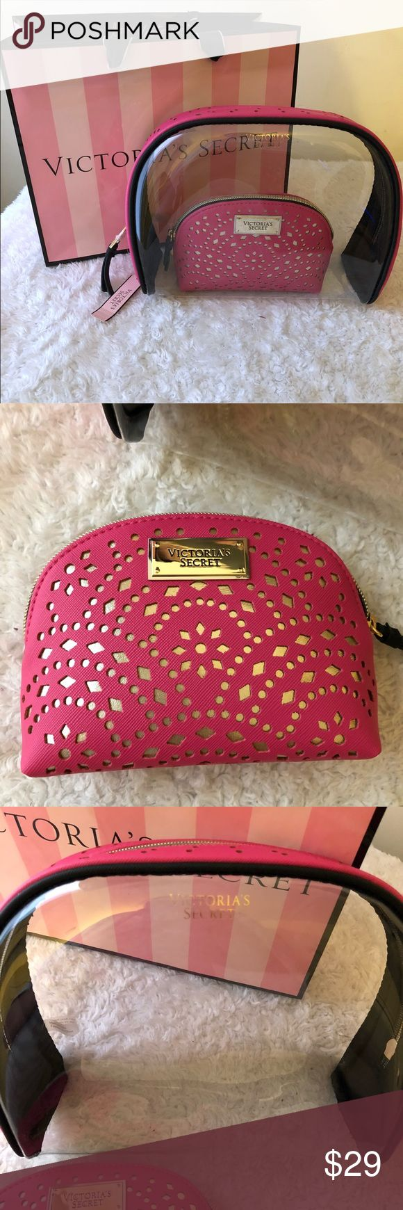 🎁 VS Cosmetic Bag Set NWT great for gift giving. Measurements are in the last picture. Any questions pls ask. Bundle to save offers are welcome Victoria's Secret Accessories