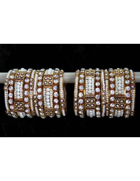 Diamantes & Pearls Bangles Item code : BNG803  http://www.bharatplaza.com/ready-to-ship/jewellery/diamantes-pearls-bangles-bng803.html https://www.facebook.com/bharatplazaportal https://twitter.com/bharat_plaza