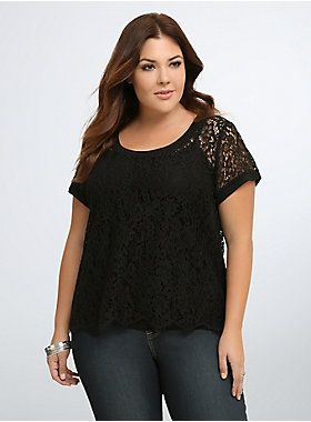 """<p>Get lucky in lace, this blouse is a pretty WOW factor to any 'fit. Allover black floral lace is sweet (and see-through) but a little sporty (and shapely) thanks to solid ribbed trim along the collar and sleeves. Eyelash trim adds the final feminine touch.</p>  <p></p>  <p><b>Model is 5'9"""", size 1</b></p>  <ul> <li>Size 1 measures 25 3/4"""" from shoulder</li> <li>Nylon/rayon/cotton/polyester/spandex</li> <li>Hand wash cold, dry flat</li> <li>Imported plus size top<..."""