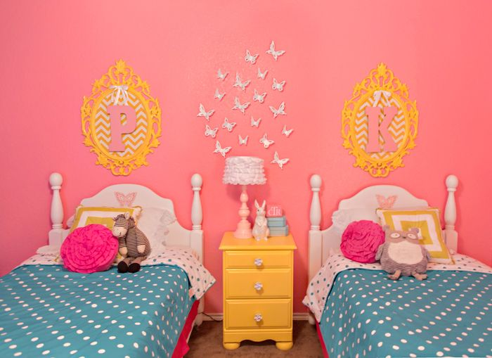 Bedroom for girls with all the love: monograms, butterflies, polka dots. Pink/yellow/blue