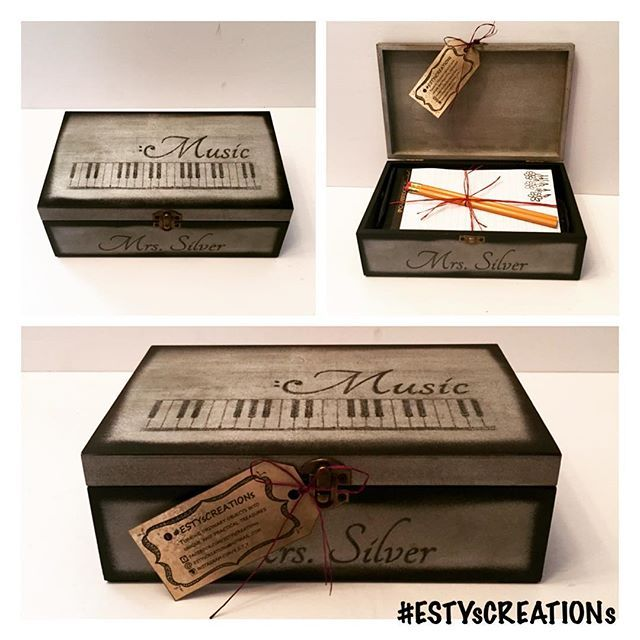 #personalized and #customized #painted #wooden #keepsake for a #devoted #music #teacher that gives up her lunch time to run #school #jazzband, #concertband, #choir and #recorderensemble.  It's no wonder this teacher won the #school 's #teacheroftheyear award.  This #ESTYsCREATIONs keepsake features faint #musicalnotes, a drawing of a #piano #keyboard and a #unique #design that combines the word Music with a mirrored #bassclef.  A unique design for a unique teacher…