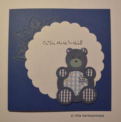 Hand made card - concrats for the baby boy Käsintehty kortti - vauvaonnittelut poikavauvan johdosta