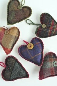 Strung together would make a lovely all year round garland. Great way to use up small pieces of tweed.