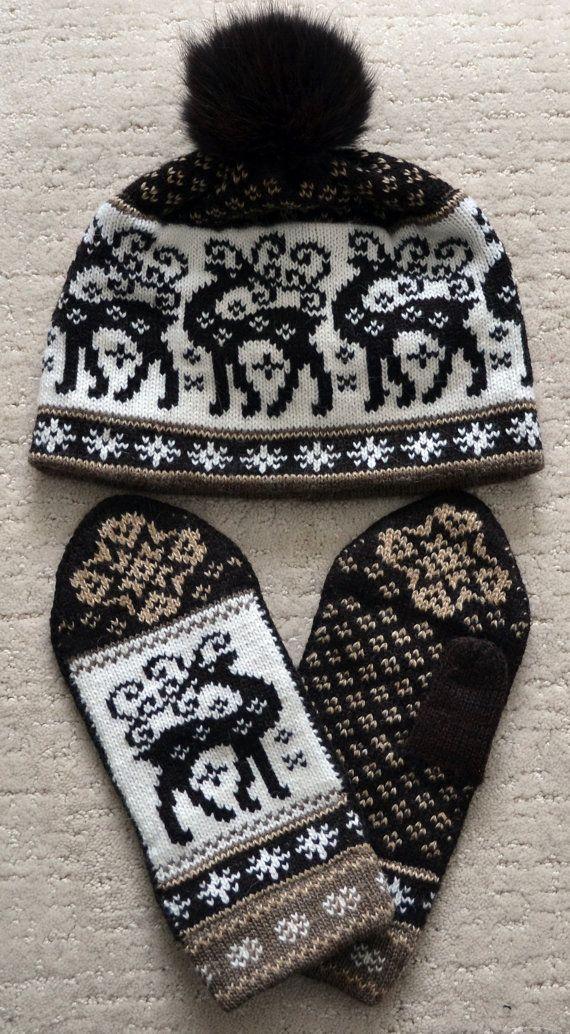 NORUEGO escandinavos hechos a mano 100% lana conjunto gorro y manoplas, M / L…
