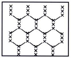 """PUNTO TUL DE MANILAS  Es también un punto de fondo y el dibujo que crea es similar al de un panal de abejas. Antiguamente a este punto se le denominaba """"antena"""".    PROCEDIMIENTO:  -Vuelta-cruce-vuelta-cruce,  ...Ver más"""