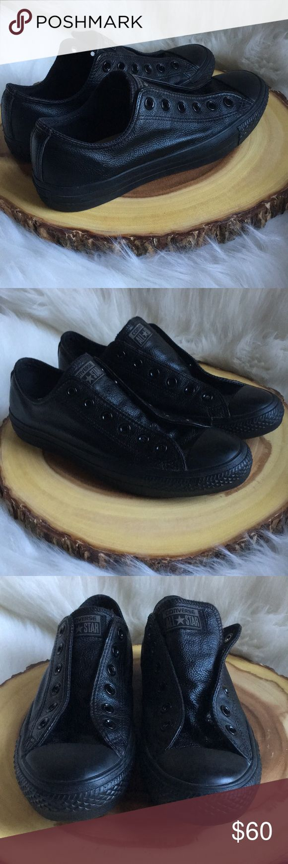 Leather converse sneakers These genuine leather converse are like new! Without the laces 🙈. Laces are very cheap! Converse Shoes Sneakers