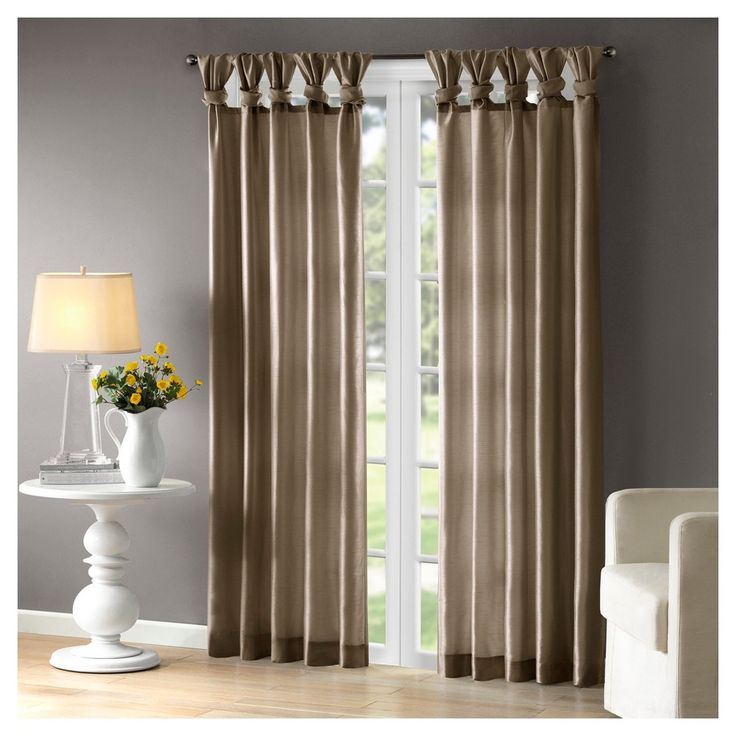 """Lillian Twisted Tab Lined Curtain Panel Taupe (Brown) (50""""x108"""")"""