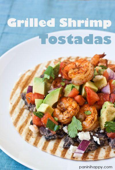 Grilled Shrimp Tostadas with Mashed Black Beans and Avocado Salsa Fresca #recipe (c) Kathy Strahs