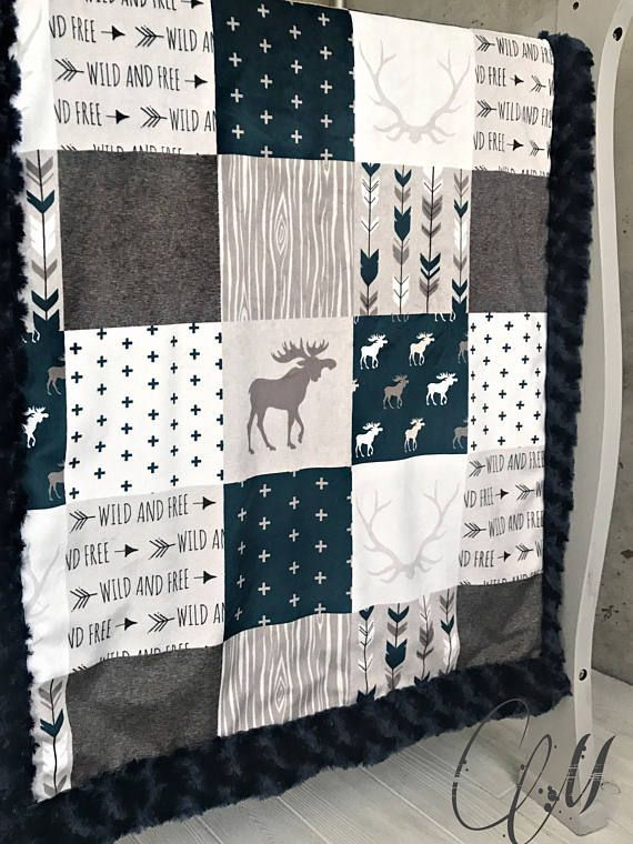 ***Options*** Please read carefully!! Navy Mountain moose with Navy swirl backing. Minky blankets are minky on both sides. Check shop info for turnaround time. Minky Baby blanket - Measures approximately 28x38 inches. Great for strollers, car seats, swaddling etc Minky Toddler/Crib -