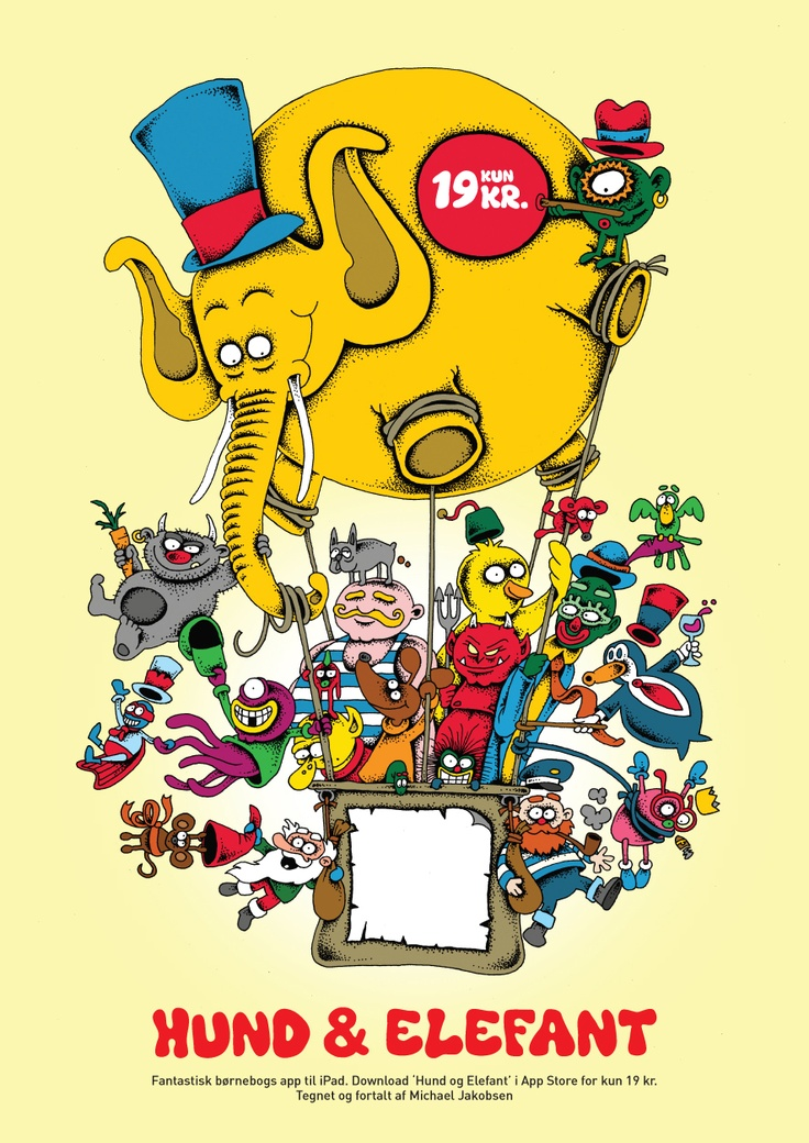 'Dog and Elephant' children's book app for iPad and iPhone. Launch poster  summer 2013