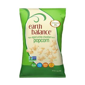 Take your popcorn eating experience up a notch with Earth Balance® Vegan Aged White Cheddar Flavor Popcorn. Made with expeller-pressed oil and sprinkled with vegan aged white cheddar flavor, this non-gmo wonder is a party in your mouth…and all the taste buds are invited. It's finger-licking good!