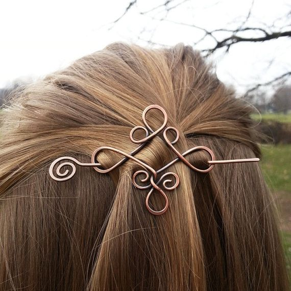 Great Celtic Copper Hair Barrette Rustic Shawl Pins