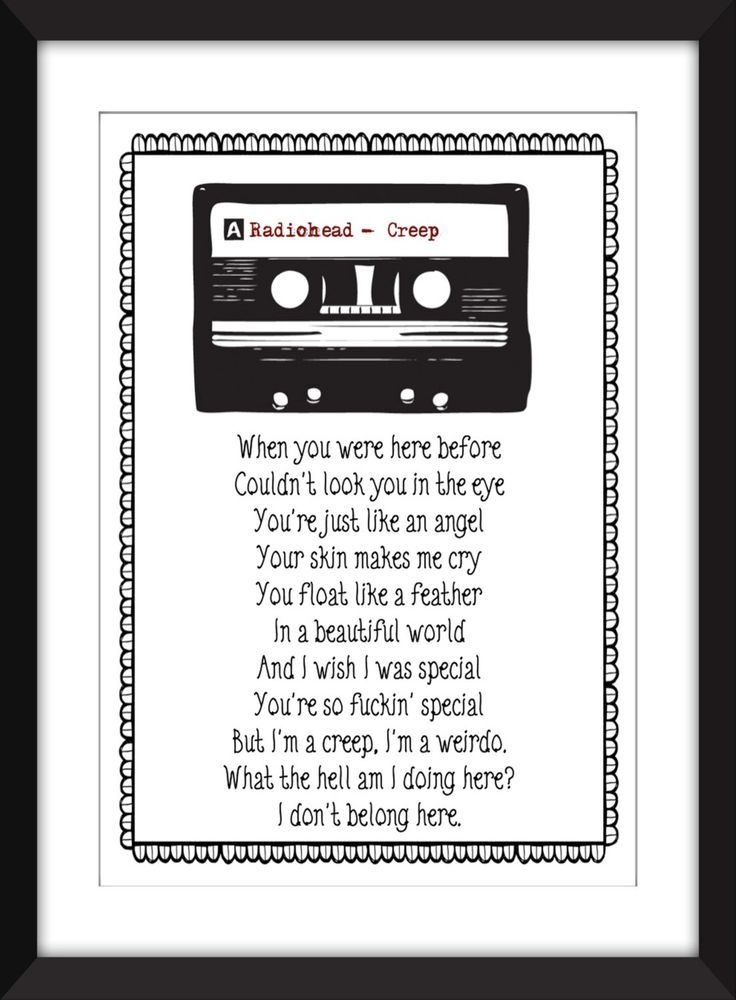 "Radiohead Creep Lyrics Print  11 x 14/8 x 10/5 x 7""    A3/A4/A5 Typography Print, by TheWordAssociation on Etsy"