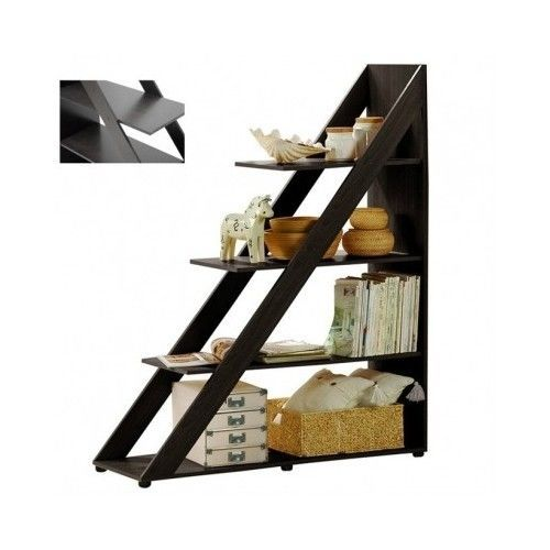 Wood-Ladder-Shelf-Bookshelf-Bookcase-Storage-Stand-Furniture-Display-Modern-Room