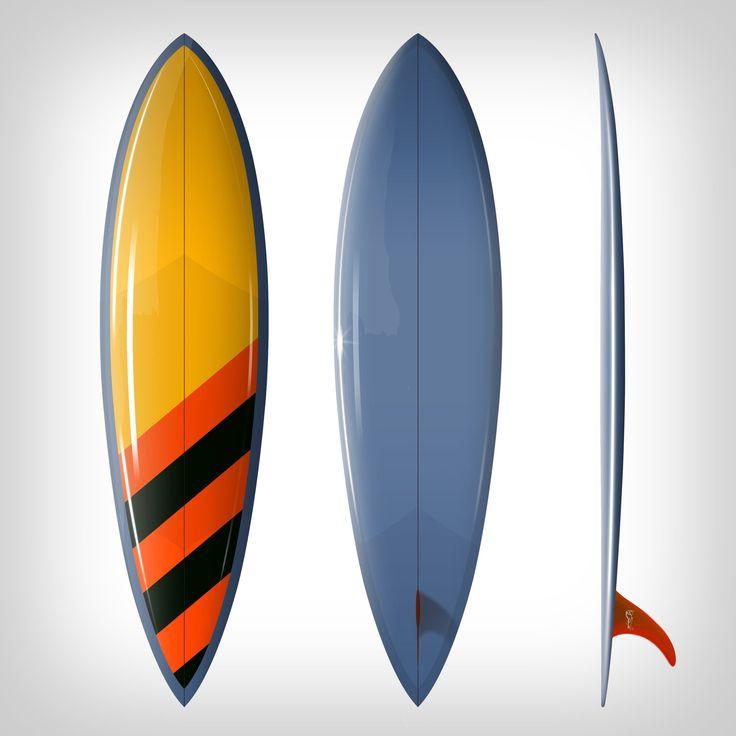 """Custom Order Single Fin Surfboard DC Teardrop """"Hot Bit"""" - Driftwood Caravan x Surfing With Friends"""