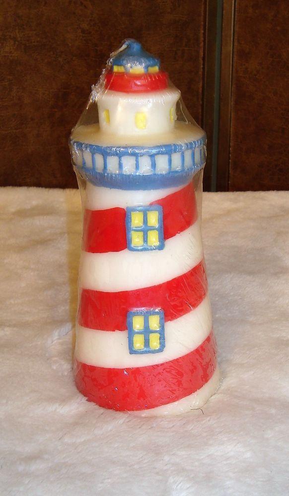 "New Sealed Boston Warehouse Red White & Blue Lighthouse Nautical Candle 8"" Tall #BostonWarehouse"