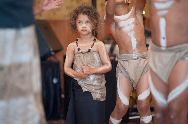 Little Aboriginal girl from Yarrabah, Far North Queensland, Australia. Dancing at the NAIDOC week celebrations.