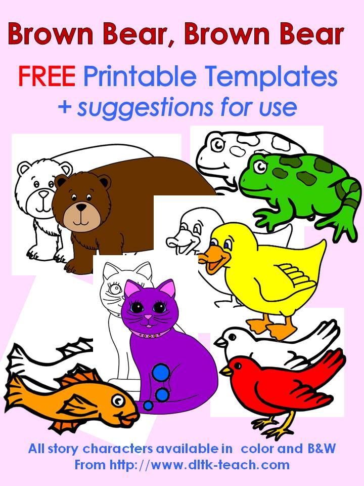 FREE printable templates of all characters in Brown Bear, Brown Bear plus suggestions for use.