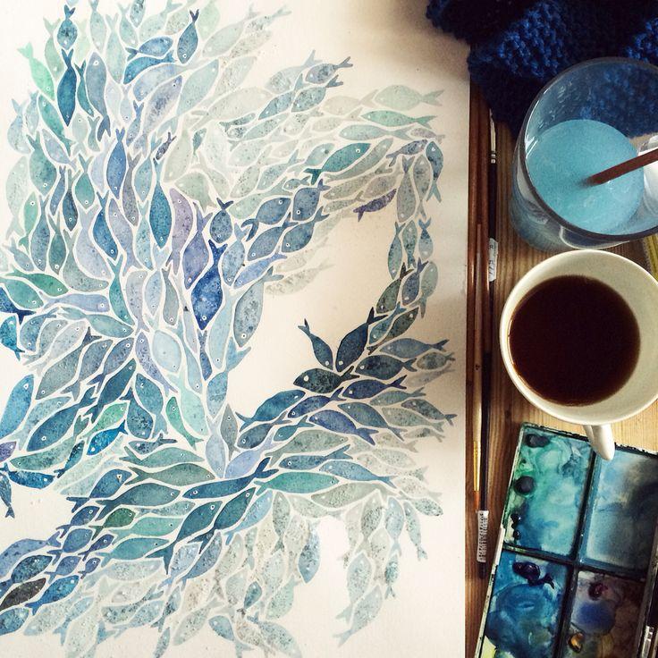 Watercolour blue fish - Ingjerd Tufto