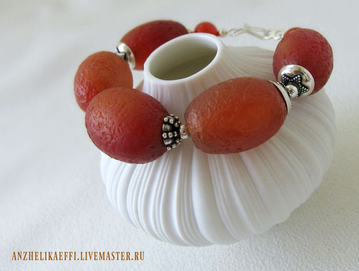 Купить Серебряный Браслет из Крупного Сердолика и серебра 925 пробы - купить браслет, серебряные браслеты