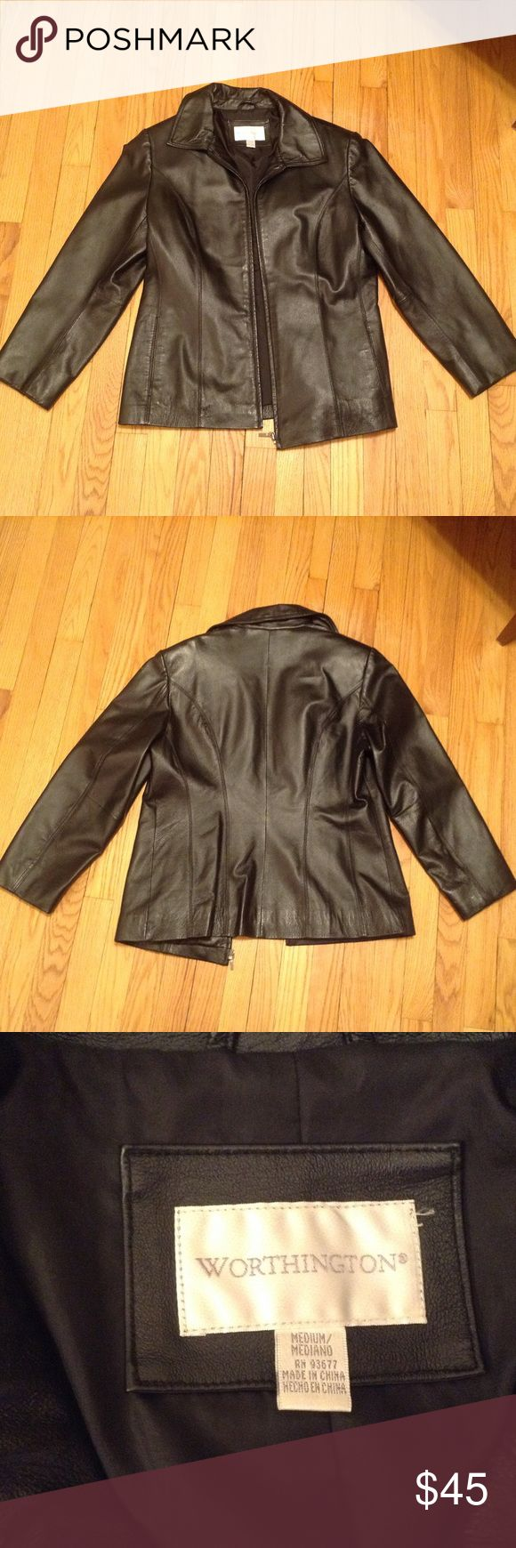 Women's Leather Coat Black, like new leather coat by Worthington.   Size Medium Jackets & Coats
