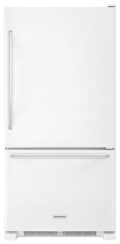 KitchenAid - 18.7 Cu. Ft. Bottom-Freezer Refrigerator - White - Larger Front