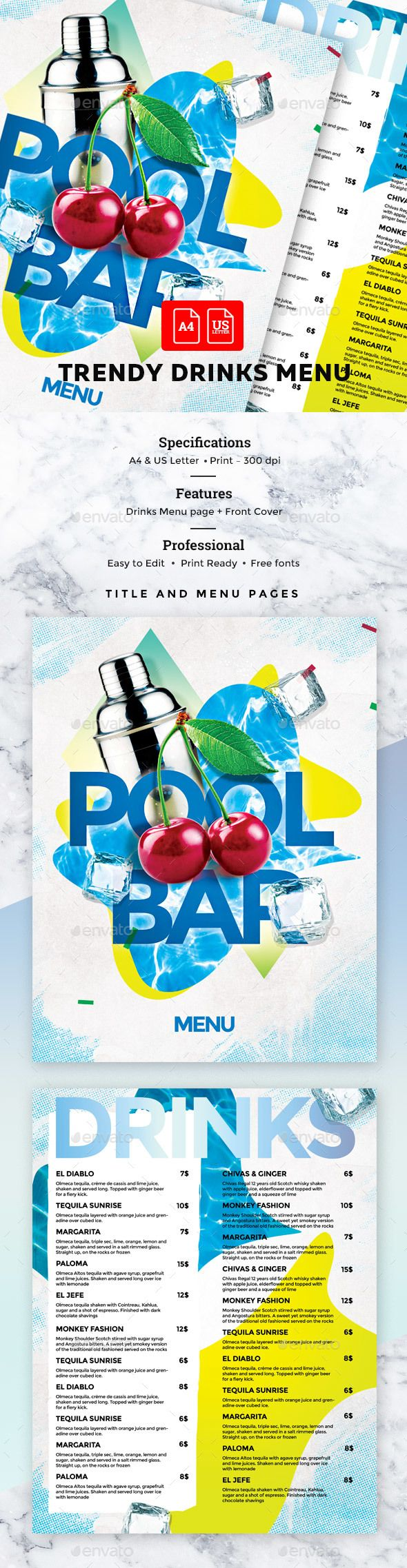 Cocktail Drinks #Menu - #Food Menus Print Templates Download here: https://graphicriver.net/item/cocktail-drinks-menu/19715367?ref=alena994