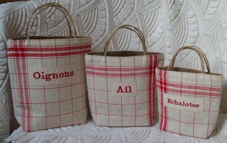 Série de paniers Oignons Ail Echalottes - Photo de Créations autour de la cuisine... - L'atelier d'Aston