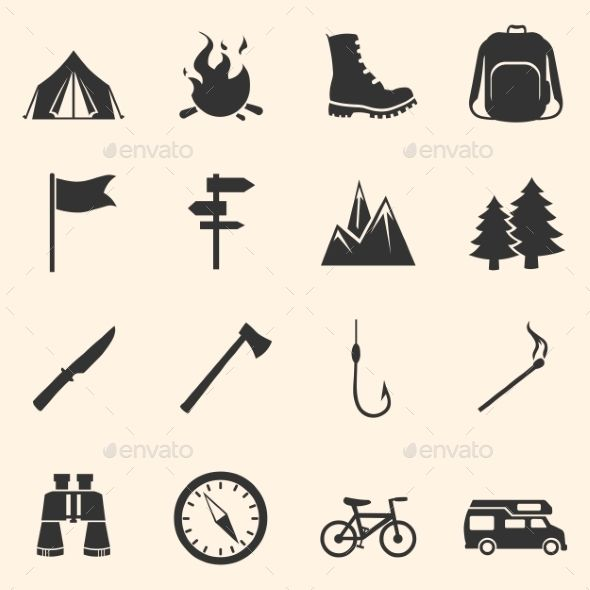Set of Hiking and Camping Icons (Vector EPS, CS, axe ...