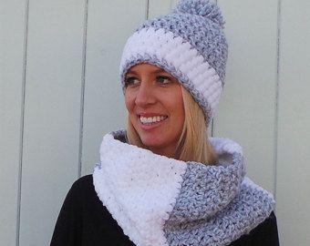 Crochet Pattern, Crochet Cowl pattern, Crochet hat pattern Bobble hat pattern Cowl crochet pattern Pom pom hat pattern Instant download - Uk