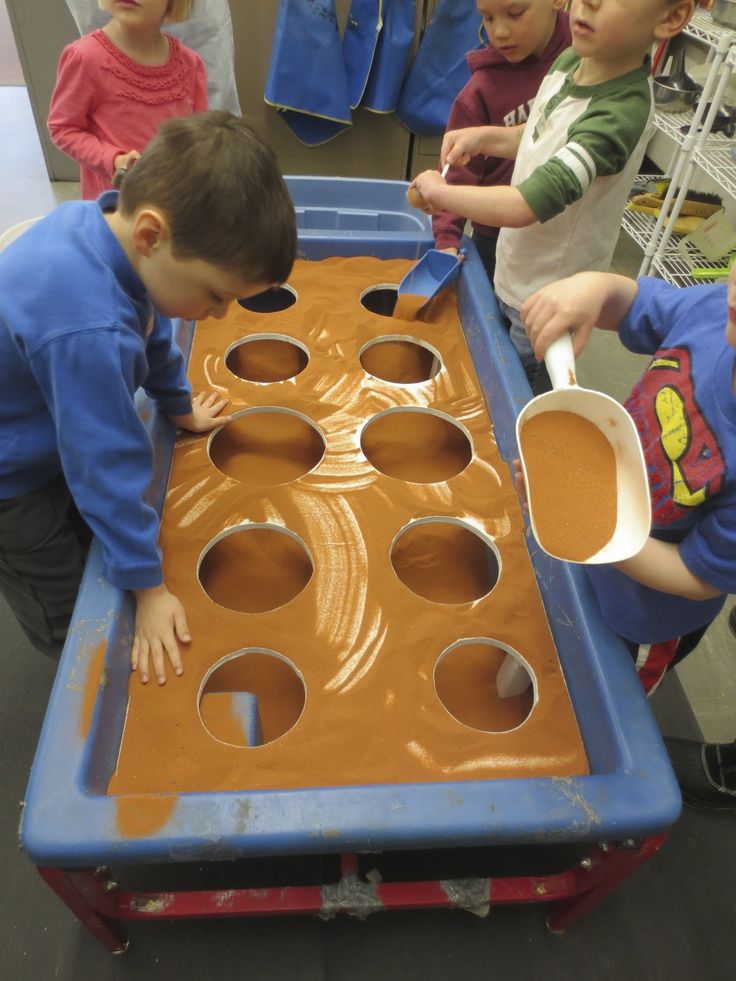 sand and water tables table covering with holes and sand sensory