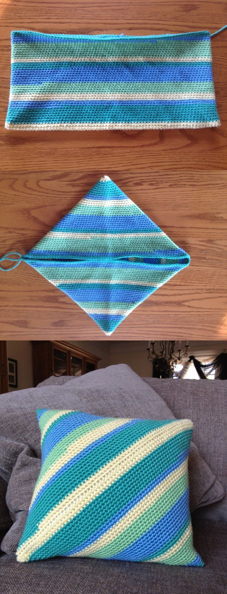 "Potholder pillow, free pattern ~ This is the same pattern used for making the classic potholder - very easy & fast.  12"" pillow uses about 7 oz yarn, hook size 'H', worked in all SC.  Set-up is actually crocheting in the round.  Keep going until, when folded diagonally (2nd pic), both sides meet.  Stuff with a pre-made pillow form & slip stitch closed.  #crochet"