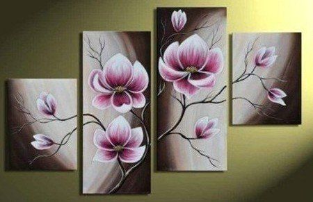 100% Hand-painted Wood Framed Beautiful Purple Flower High Q. Home Decoration Modern Landscape Oil Painting on Canvas 4pcs/set Mixorde -- $38.99