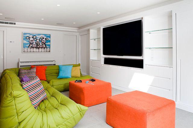 L shaped sofa Lime and orange ideas
