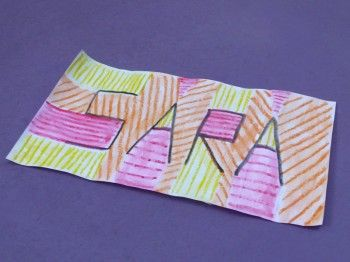 Name art, using different lines, jasper johns inspiration of hatching