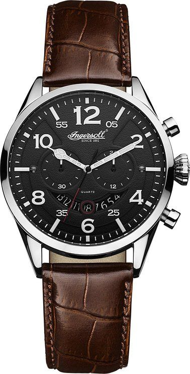 Ingersoll INQ029BKSL Men's Watch Compton Black Dial With Dark Brown Leather Band