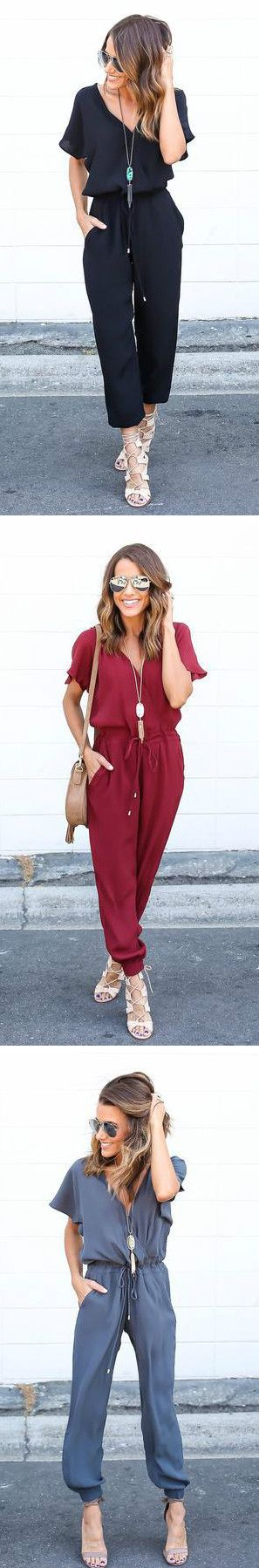 In love with this jumpsuit in black w strappy nude heels. Perfect deep v neck, cropped length, fluttery sleeves...gorgeous